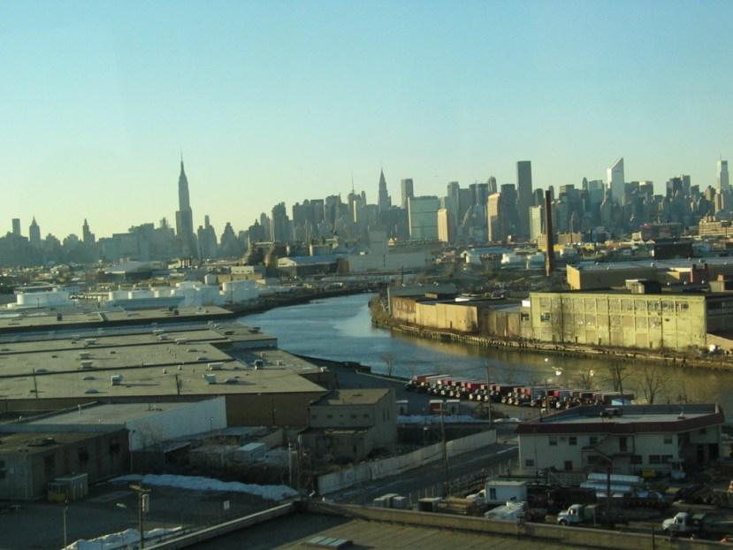 Newtown Creek, a Superfund site in NYC, with the Manhattan skyline