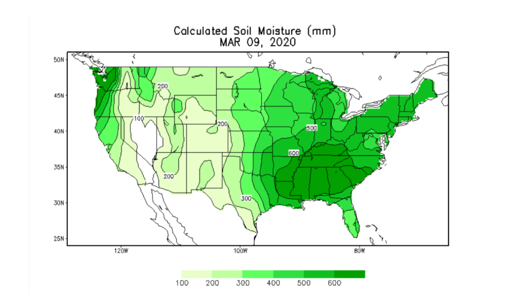 Map of the United States showing soil moisture estimates