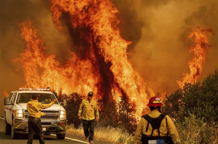 Firefighters before a blaze in California.