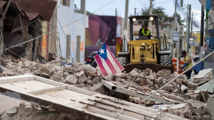 Street torn down by Hurricane Maria