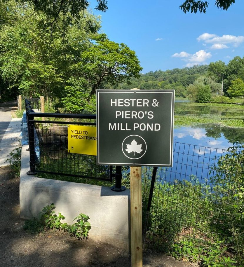A recently installed sign for the renamed Hester & Piero's Mill Pond.
