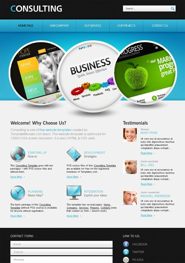 free website with jquery for consulting business