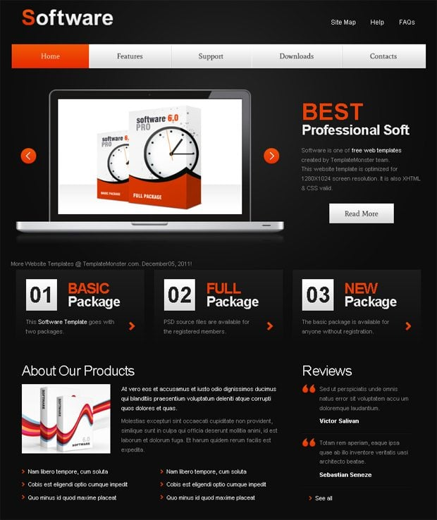 free website with jquery for software project