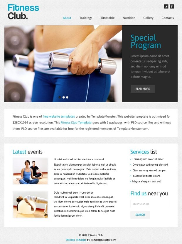 free website with jquery for fitness club