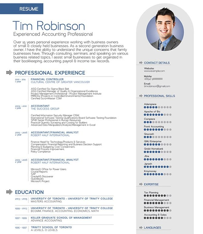 the austere look of this template makes it perfect for job seekers