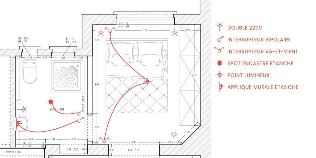 Plan électrique d'une chambre et d'une salle de bain