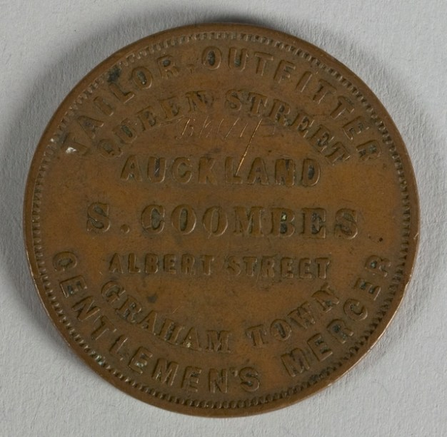 Obverse of token issued by Samuel Coombes, New Zealand, minted by Thomas Stokes of Melbourne. Te Papa (NU002330)