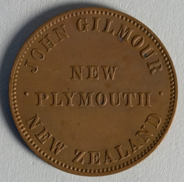 Obverse of token issued by John Gilmour, New Plymouth, maker unknown. Te Papa (NU002491)