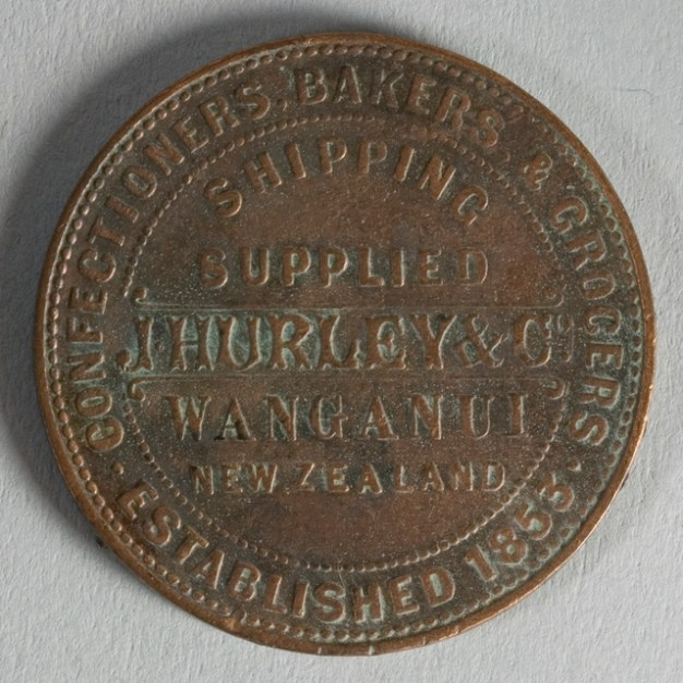 Obverse of token issued by J. Hurley & Co., Wanganui, minted by W.G. Todman & Co. of London. Te Papa (NU002500)