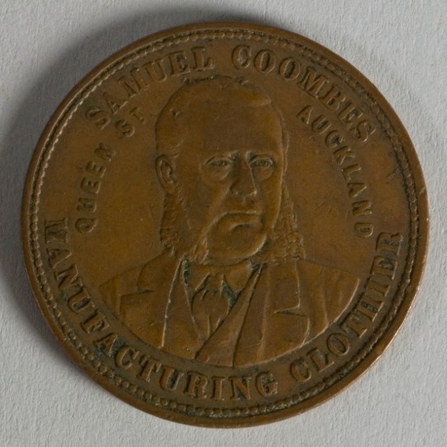 Reverse of token issued by Samuel Coombes, New Zealand, minted by Thomas Stokes of Melbourne. Te Papa (NU002330)