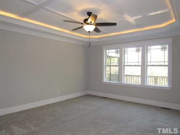 master bedroom with tray ceilings