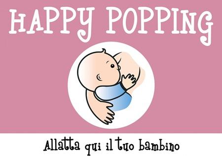 immagine di un bambino al seno e scritta in grande Happy Popping. In piccolo, Allatta qui il tuo bambino