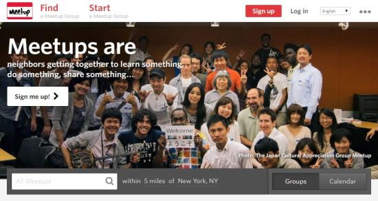 The Meetup.com homepage, showing the Japan Cultural Appreciation Meetup Group