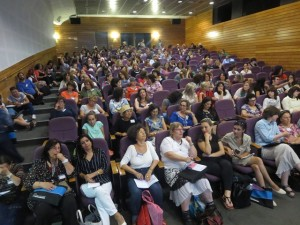 """The audience at Andy Curtis's workshop on """"Energizing Language Learning Using Film"""""""