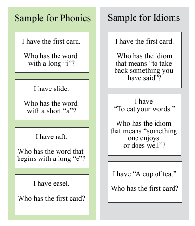 """I Have, You Have"" Example Cards"