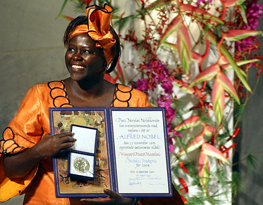Wangari Maathai as she receives her Nobel Prize. Photo Credit: The Telegraph