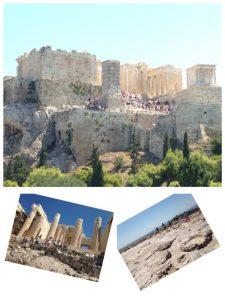 古代ギリシアのポリスのシンボルとなった小高い丘。世界遺産。アクロポリスは「高いところ、城市」という意味です。