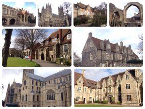 1170年に政教分離を巡ってヘンリー2世と対立したカンタベリー大司教トマス・ベケットが殉教し、聖人に列せられたことから、聖地として多くの巡礼者が訪れる場所となりました。礼拝堂の床に1本のろうそくが立てられていて、その下にベケットは埋葬されているそうです。ジェフリー・チョーサーの『カンタベリー物語』もカンタベリー巡礼者の物語です。 1988年世界遺産に登録されました。