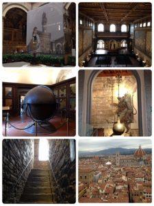 世界遺産。 14世紀の始めにフィレンツェの政庁舎として建築され、一時、メディチ家もピッティ宮殿へ移るまでここを住居としていました。現在は市庁舎として使われています。3層の石造建物で塔の高さは94m。(左下の階段を上がり塔の上から見た風景が右下です) 「500人大広間」の壁画をミケランジェロとダ・ビンチが競作したというエピソードで有名です。残念ながら、現在の壁画(右上)はジョルジョ・ヴァザーリ作だそうです。