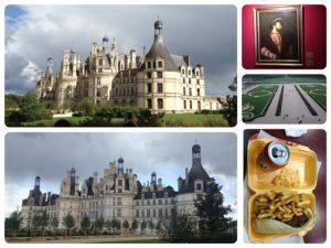 ロワール古城として点在する城のうち、最大の広さを誇る城です。フランス王フランソワ1世のために建てられました。右下の写真は、ホテル近くのレストランで食べた夕食です。いつもの事ながら欧米はポテトが多い。