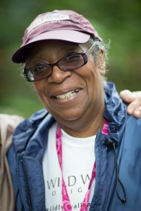 "Gwen M. (aka ""The General"") smiles on Day 1 of the Boston 3-Day in 2013"