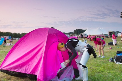 Kevin D assembles his walking gear on the Twin Cities 3-Day, dressing as a Stormtrooper from Star Wars on his fight to end breast cancer.