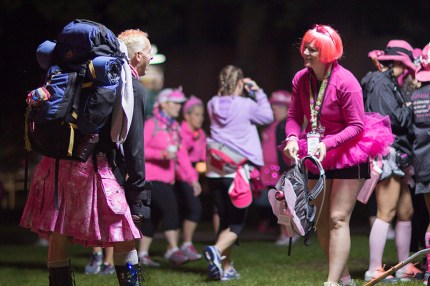 William K greets Susan G. Komen walkers on Day 1 of the Seattle 3-Day