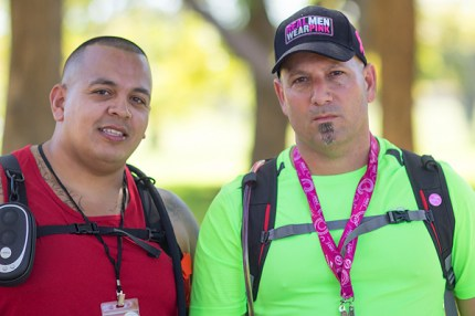 "Dubbed ""The Linebackers"" by the author, Mark and Jason cruise through the 60-mile course on the Susan G. Komen Dallas 3-Day"