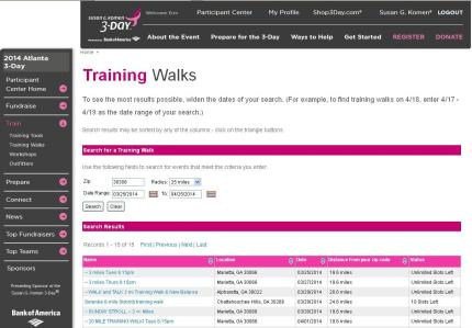 Komen_3Day_participant center_training walk calendar