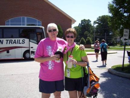 "Carol H. shared, ""My 1st 3-Day ever—Cleveland in 2011. My wonderful friend Sue (on the left) came up and surprised me!"""