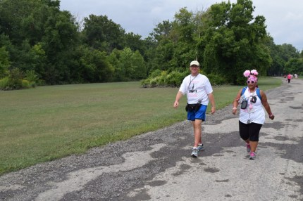 David and his Cleveland Cleavage teammate Tina head to the lunch stop on Day 3 of the Michigan 3-Day.
