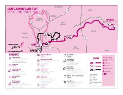 SUsan g. komen 3-Day breast cancer walk blog 60 miles map atlanta