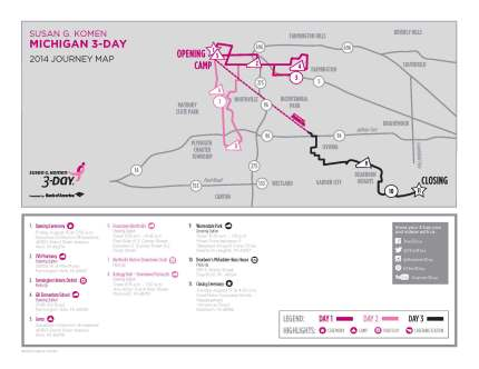 SUsan g. komen 3-Day breast cancer walk blog 60 miles map michigan