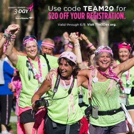 susan g. komen 3-day breast cancer walk blog team discount registration