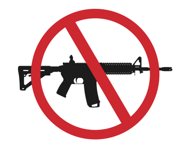 Silhouette of an AR-15 with a red circle bar