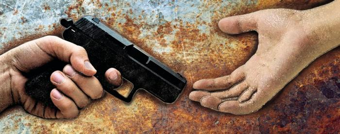 handing a pistol to an outstretched hand symbolizing the american violence issue
