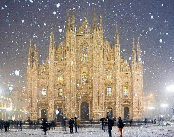 Duomo Cathedral in Milan Italy in the snow