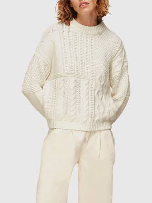 WHISTLES PATCHWORK CABLE KNIT