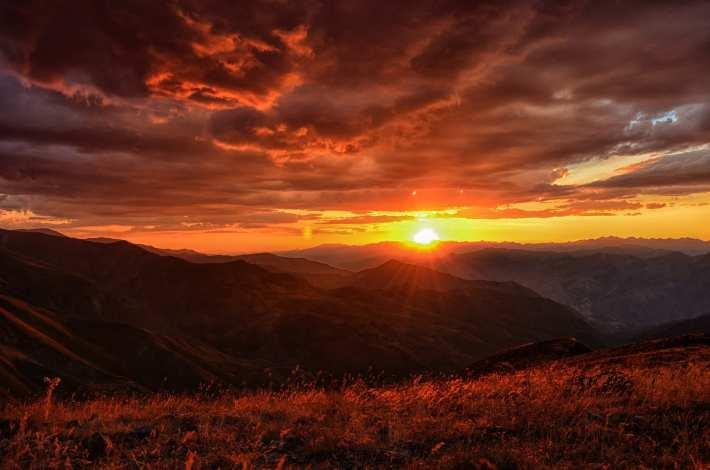 Beautiful landscape at sunrise.