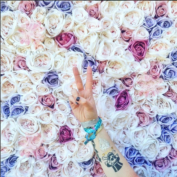 Be Glammed Flower Wall at Coachella