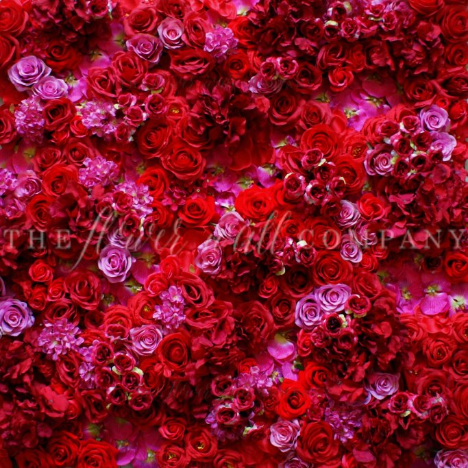 red flower wall, karen tran, luxury wedding