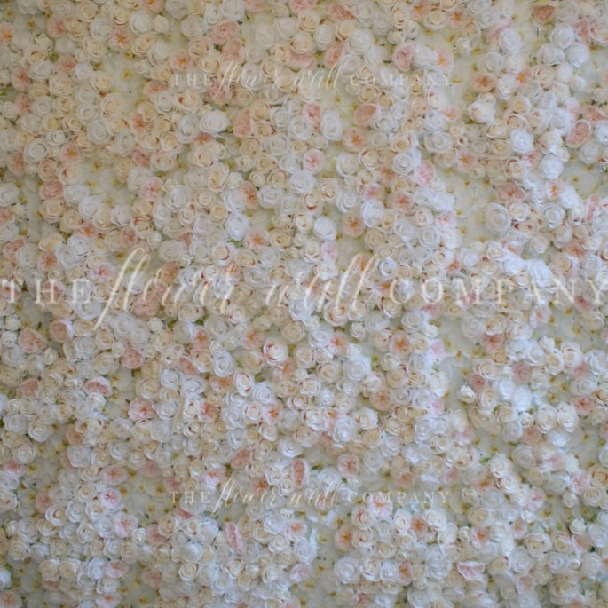 blush and white rose flower wall floral backdrop