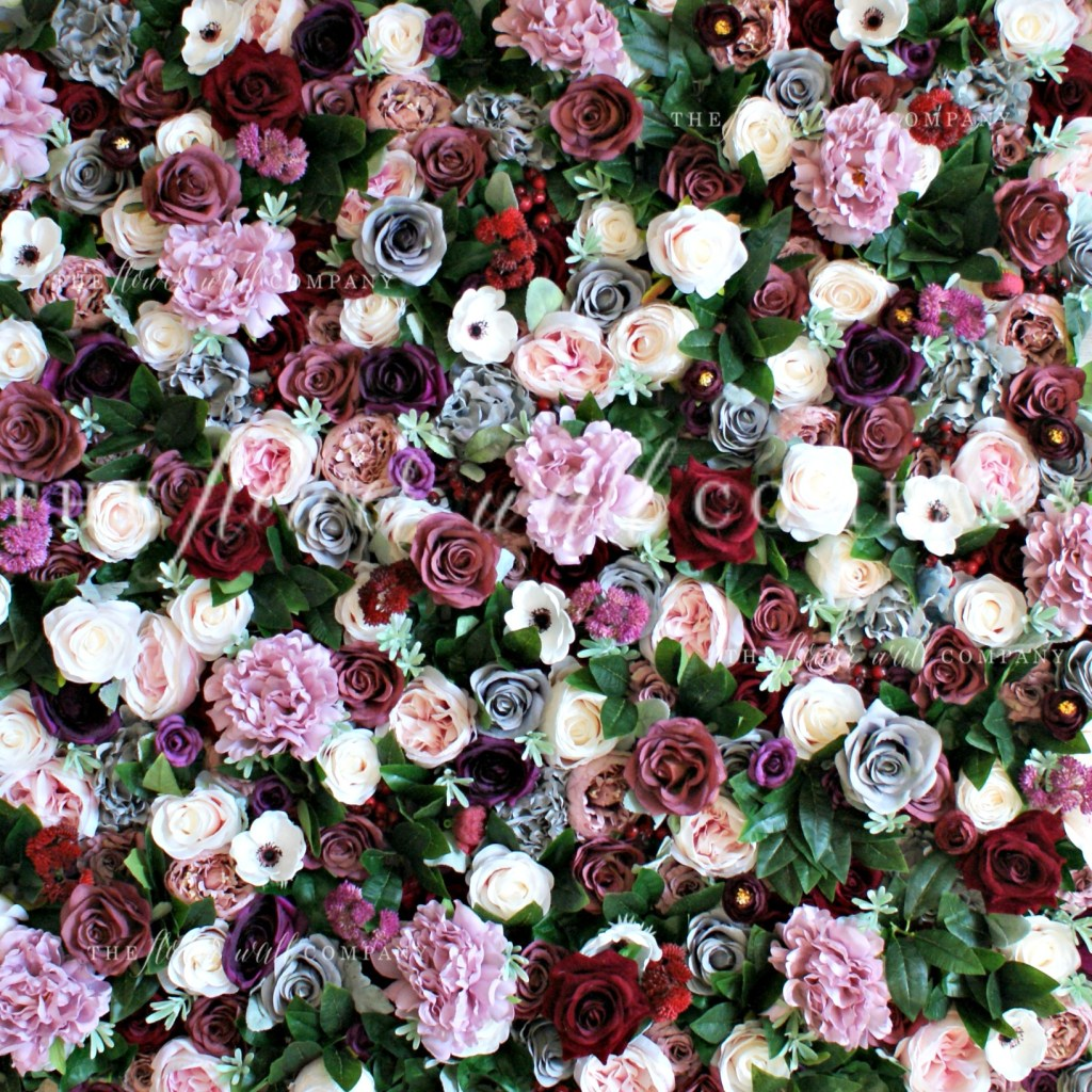 blush red grey flower wall winter fall autumn floral backdrop sydney melbourne london the flower wall company rent hire cheap flower wall