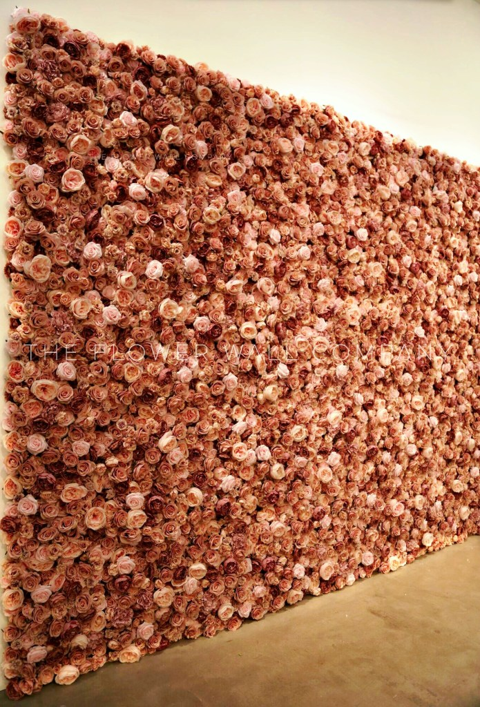dusky pink blush flower wall floral backdrop roses peonies luxury wall hire karen tran