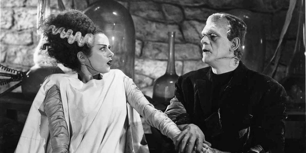 An iconic scene from Bride of Frankenstein, compete with beehive doo and white wavy streak.