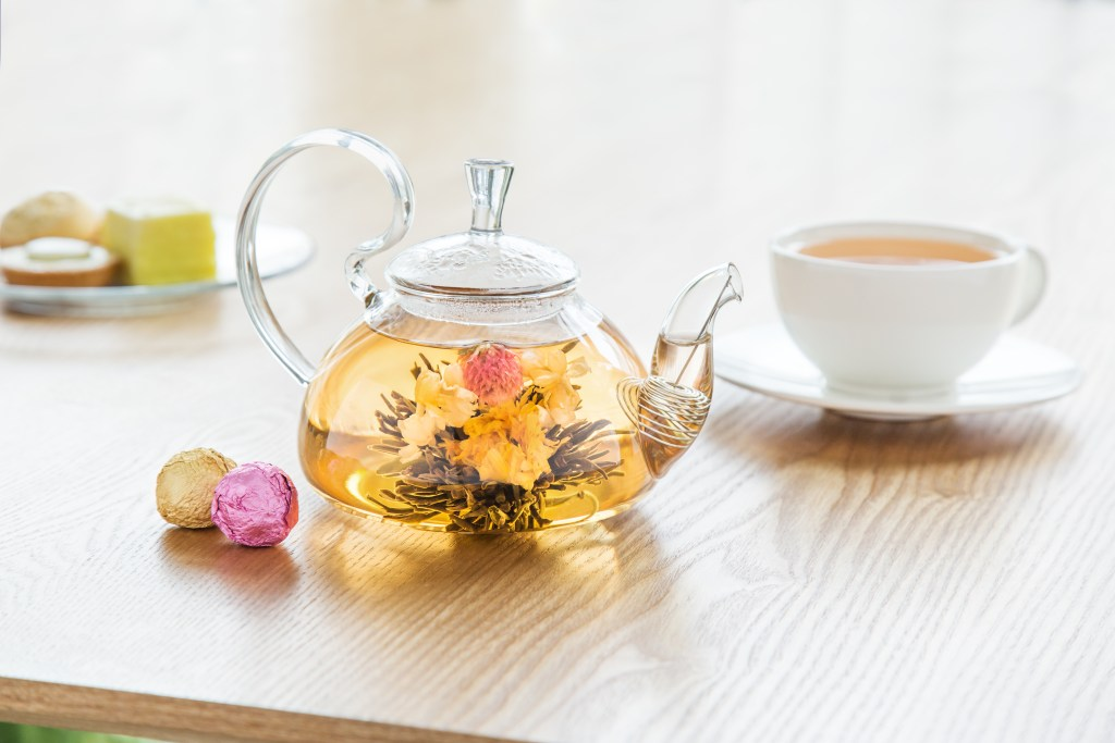 Flower tea blooms in a tisane from the Flower Pot Tea Company