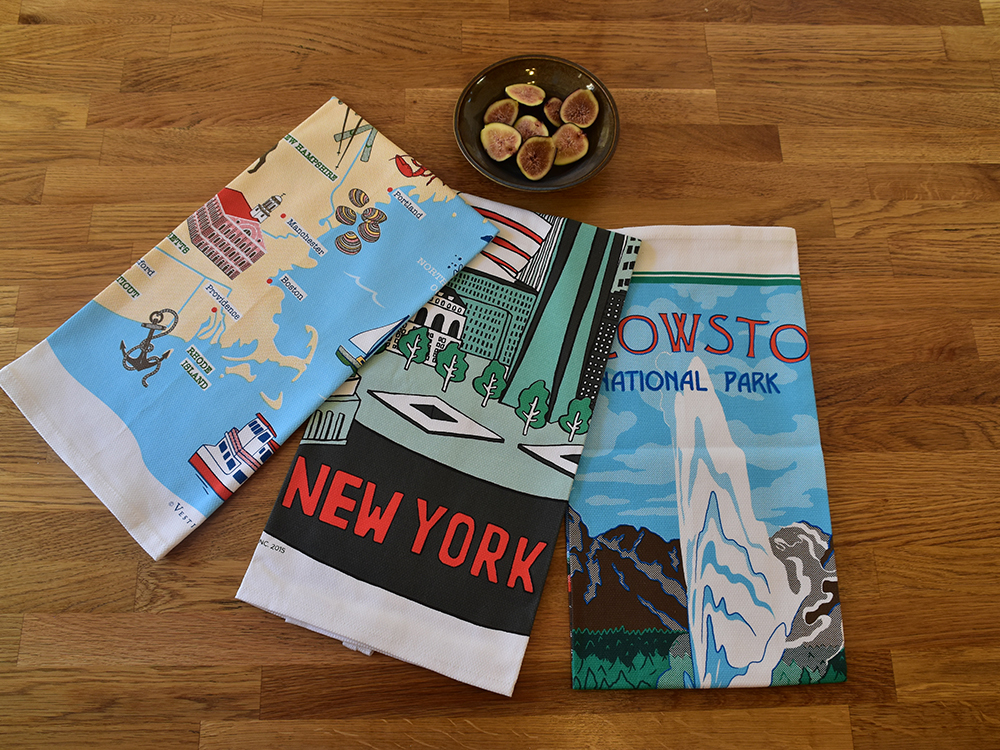 Tea time gets a fun update with destination-themed tea towels from Vestiges