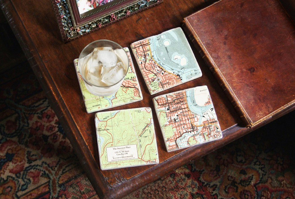 set of 4 marble custom map coasters from Screencraft Gifts depict topographical areas