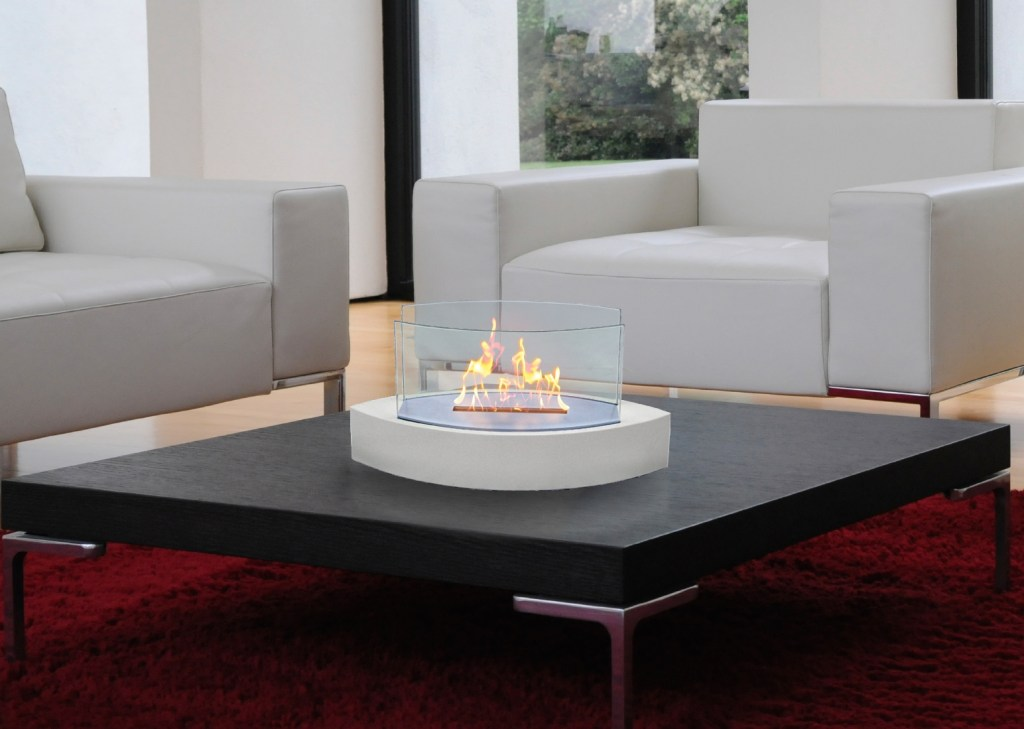 Anywhere fireplace: ventless coffee table fireplace