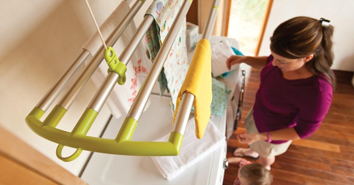 A close up of LOFTI's hanging dryer rack